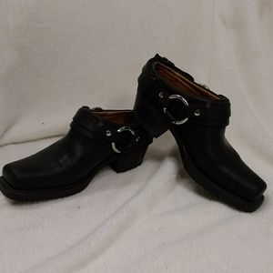 Frye Harness Clog Black Mule 6 USA Made Leather